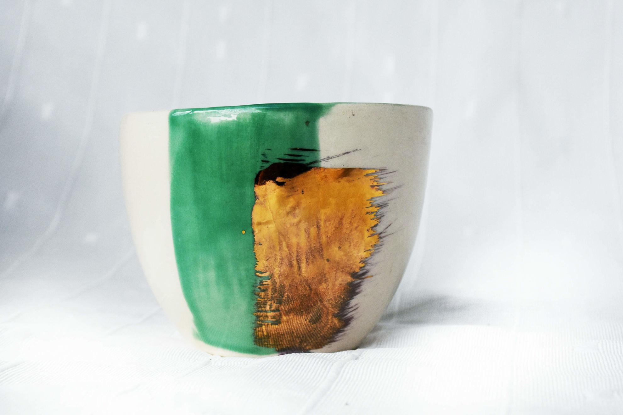Foto de Cuenco cerámica verde oro