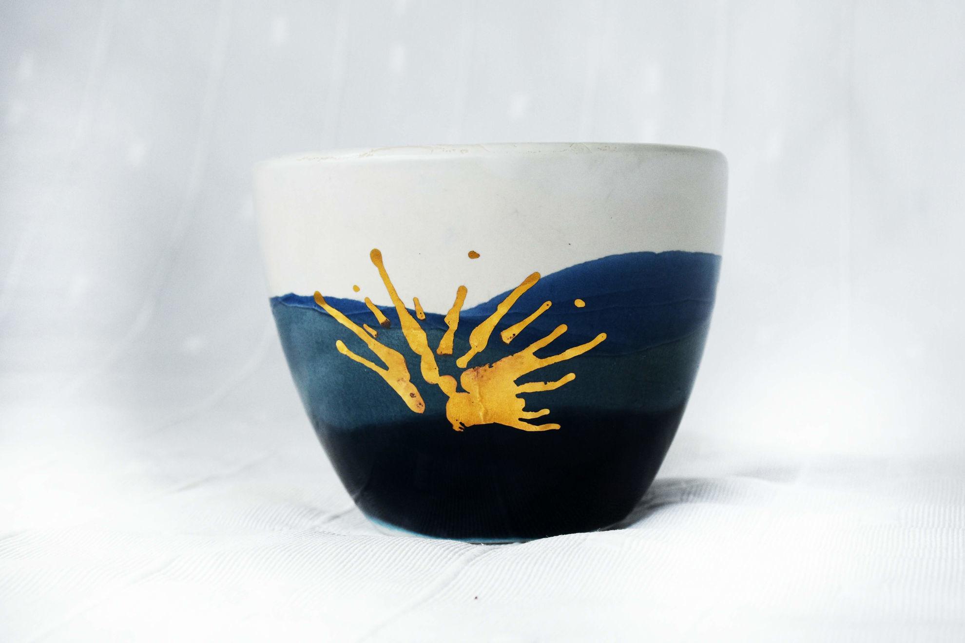 Foto de Cuenco cerámica azul oro