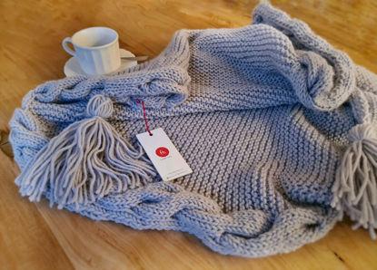 Foto de Manta/Pie de cama gris tejido a mano