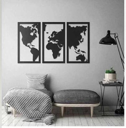 Foto de Cuadro triptico mapamundi